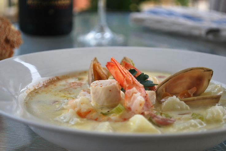 Seafood Chowder, using Cobia fish, new zealand clams, shark bay king prawns and scallops. plus our home made fish stock.