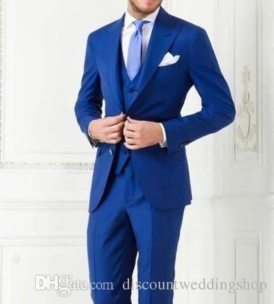 New Arrivals Two Buttons Royal Blue Groom Tuxedos Peak Lapel Groomsmen Best Man Suits Mens Wedding Suits Jacket+Pants+Vest+Tie NO:1033 from Discountweddingshop,$75.4 | DHgate.com