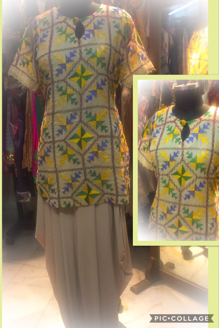 Georgette shirt with threadwork embroidery and dhoti pants