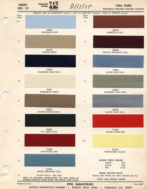 1966 Mustang Paint Colors & Codes Good to know for when I'm choosing an original color code.