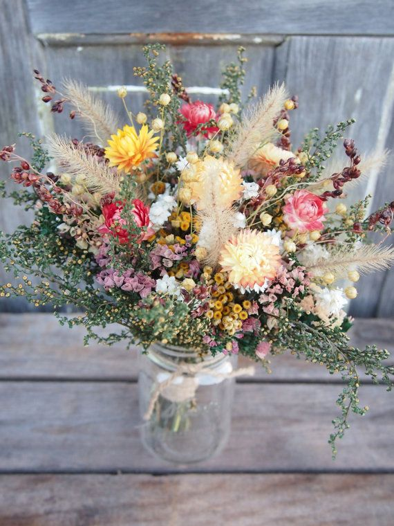 FARMHOUSE Yellow Bridesmaid Dried Flower Bouquet by theflowerpatch