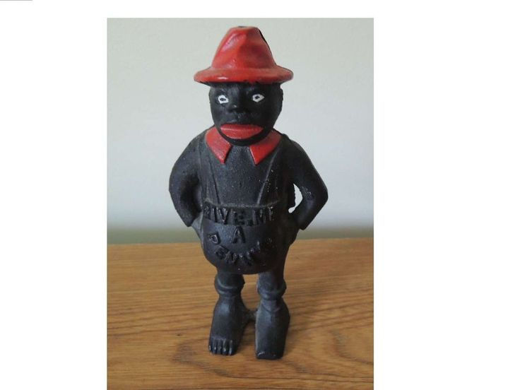 Black Americana Give Me A Penny Share cropper Cast Iron Bank