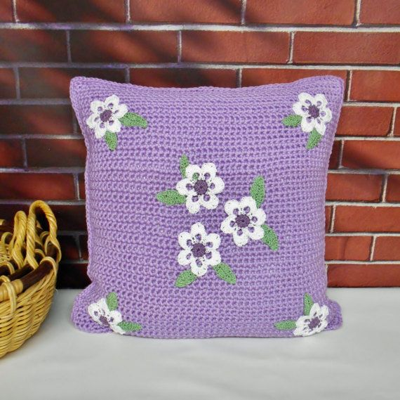 https://www.etsy.com/listing/500908000/purple-pillow-cover-with-white-flowers?ref=shop_home_active_2 #Purple #Pillow #Crochet #Cover #PillowCase #ThrowPillow #Handmade #Etsy