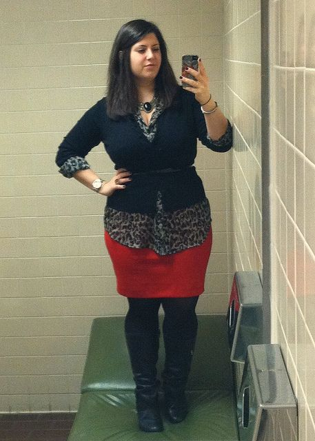What an awesome outfit! Red skirt, black tights, tall black boots, black cardigan, grey & black animal print shirt, and a chunky necklace.  Comfy, chic, flattering--perfect! #plussize