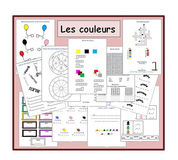 french worksheets kids learning sheets the colours kids activities printable kids. Black Bedroom Furniture Sets. Home Design Ideas