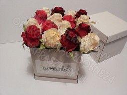 Pudełko na kwiaty białe, karbowane, flower box