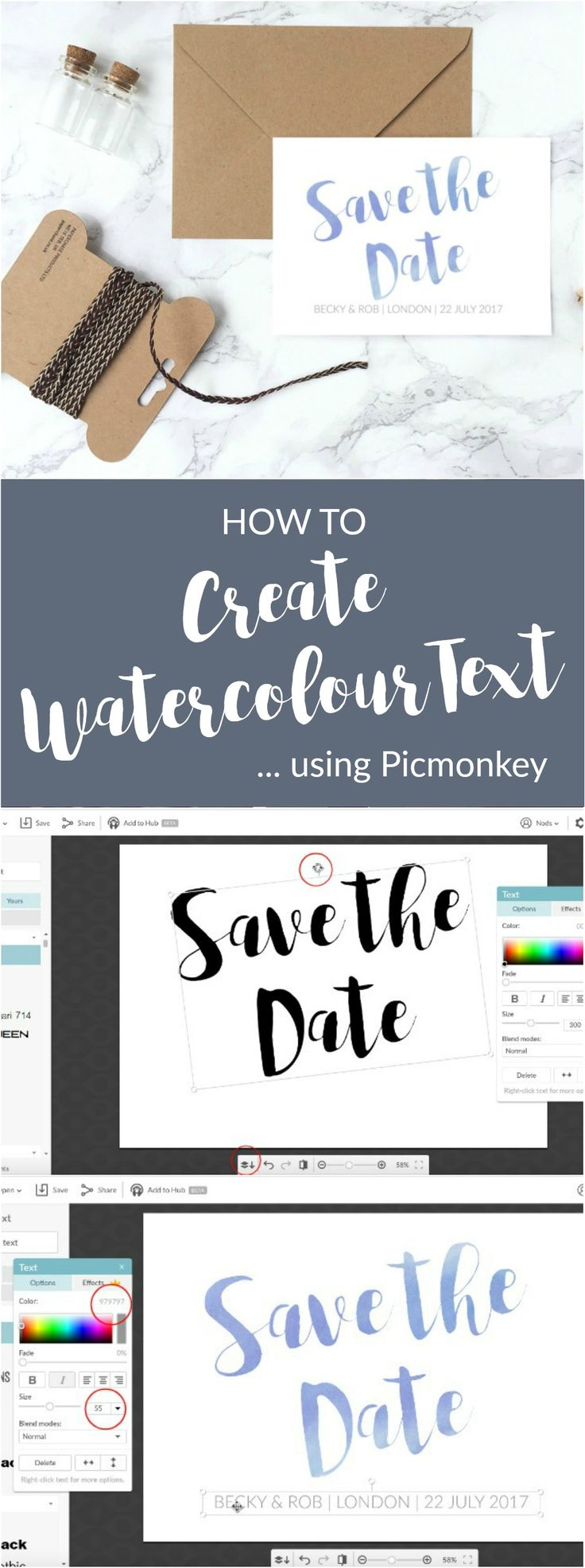 A quick and easy step-by-step tutorial on how to create Watercolour text for wedding invitations using Picmonkey