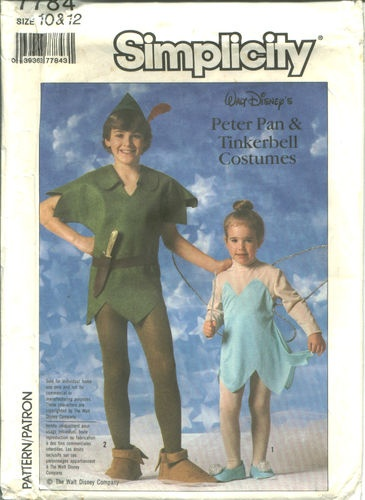 s 7784 sewing pattern disney peter pan tinkerbell costume childs sizes 10 12 - Childrens Halloween Costume Patterns