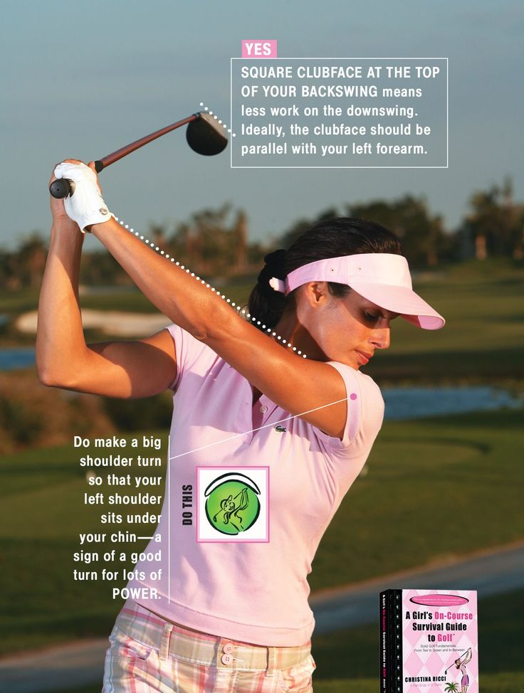 Square is the name of the game in golf. Check your club face at the top of your backswing to ensure it is square.