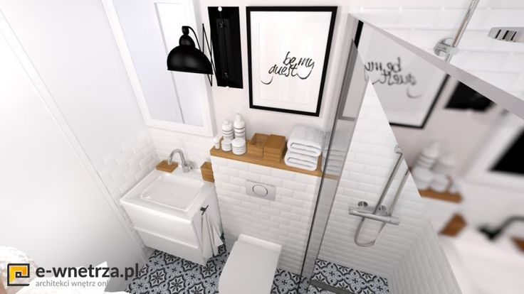 Marokanska mini łazienka 4 :) Biel przełamana jest  dodatkami z drewna oraz wzorzystą podłogą w stylu marokańskim. Pomieszczenie jest niezwykle małe, dlatego dodaliśmy jasne kolory oraz niewielkie wymiary kafli ściennych i podłogowych. Drzwi do kabiny zastanawialiśmy przesuwne, gdyż inne były by uciążliwe w użytkowaniu (ze względu na WC)