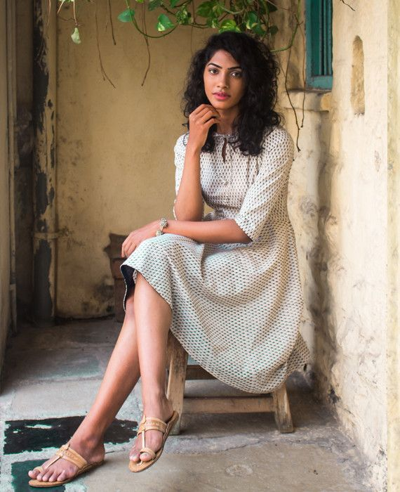 Cotton Hand Block Printed Fit & Flare Dress