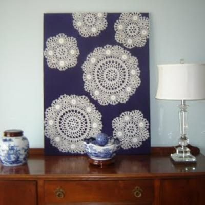 How to Use Doilies as Wall Art {wall decor} (use inverse of chinese cutouts on canvas
