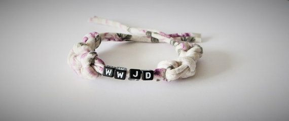 WWJD T Shirt Fabric Bracelet Trendy Fabric by TiStephani on Etsy