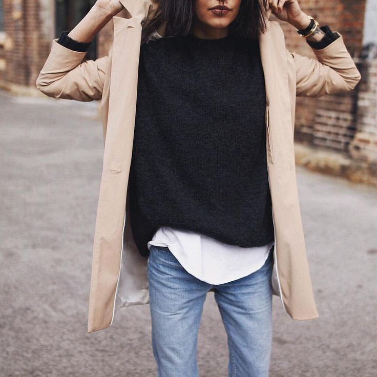 looks like a perfect T under there plus I love the sweater and trench