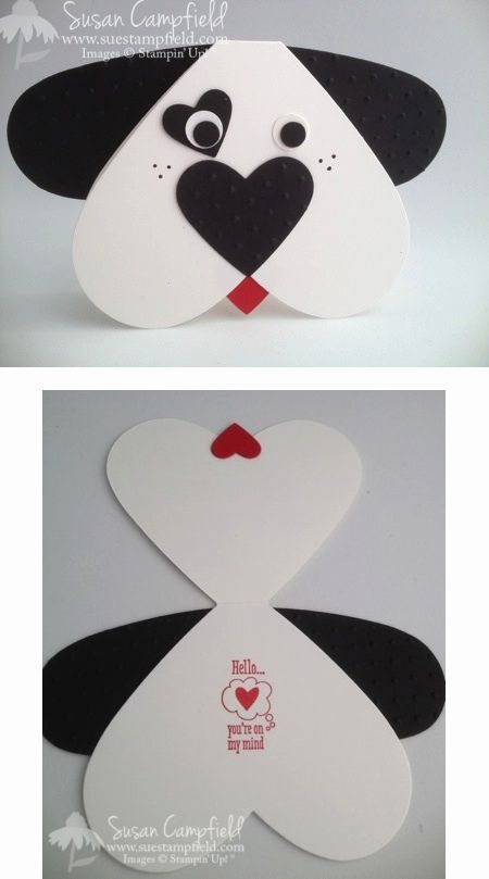 By Susan Campfield. Use heart die to create card base. Die cut another heart & cut it down the middle for the ears. Nose is a smaller dry-embossed heart; eye spot an even smaller heart. Tongue is made from a small heart. Cute!