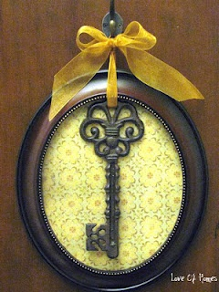 Use any frame & scrapbook paper to create an easy framed key.You could hang it on a wall, front door or as part of a picture gallery.