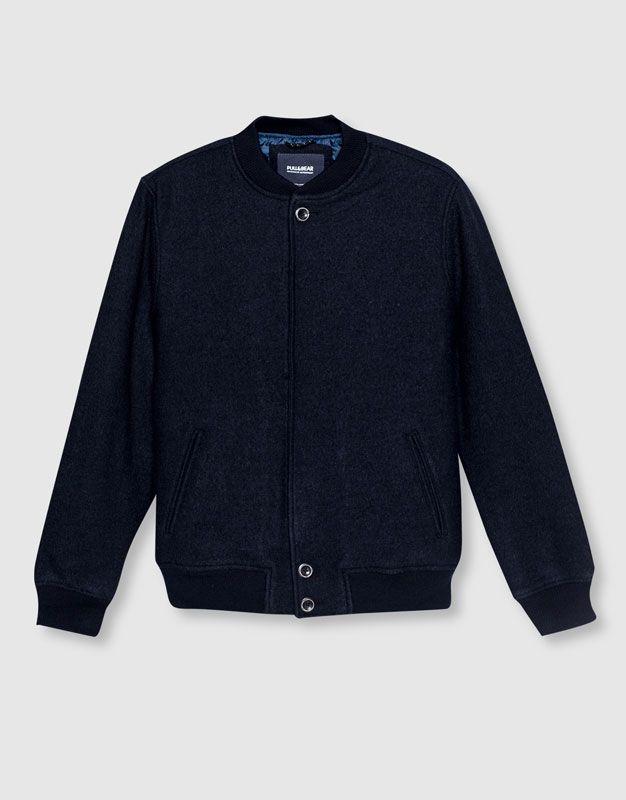 Pull&Bear - man - new - clothing - cloth bomber jacket with snaps - navy…