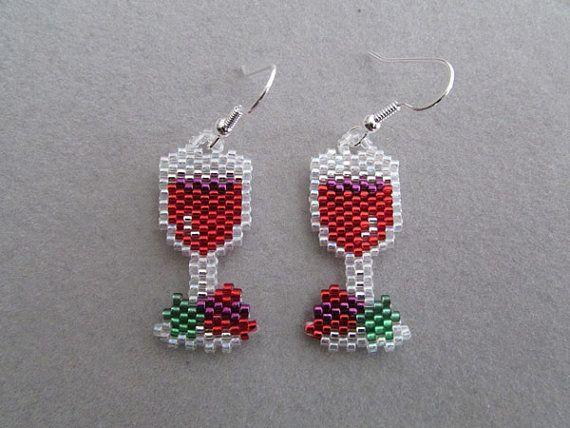 Wine Lovers Earrings in Delica Beads