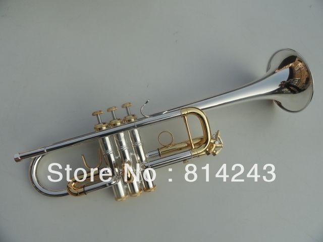 304.00$  Watch now - http://aliv0j.worldwells.pw/go.php?t=32722815501 - Bach Type C Trumpet The Small Brass Silver Plated Instruments C180ML239 Trumpet Professional Musical Instruments Trompete