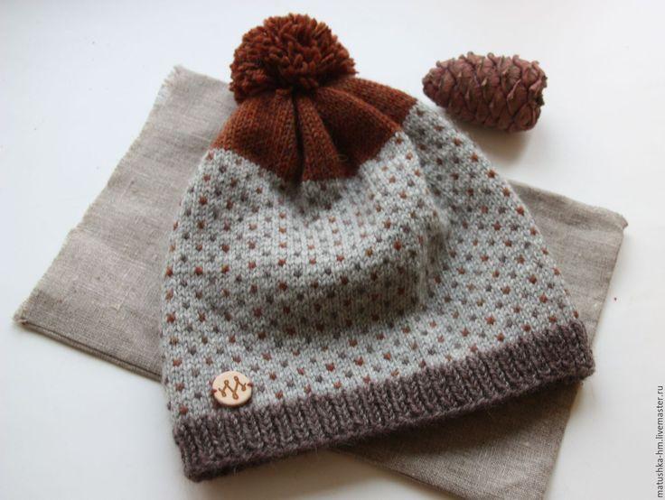 Купить Вязаная шапка - разноцветный, в горошек, шапка, шапка вязаная, шапка с помпоном, шапкак зимняя, knitting, knitting hat, hat, wool, wool hat