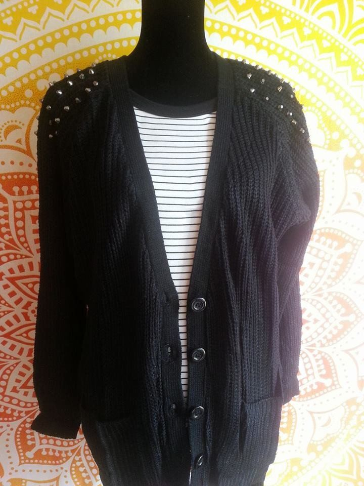 Black Spiked Cardigan. Grunge, punk, alternative fashion. Casual wear. Street wear. Fall Cardigan with spikes. Edgy style.