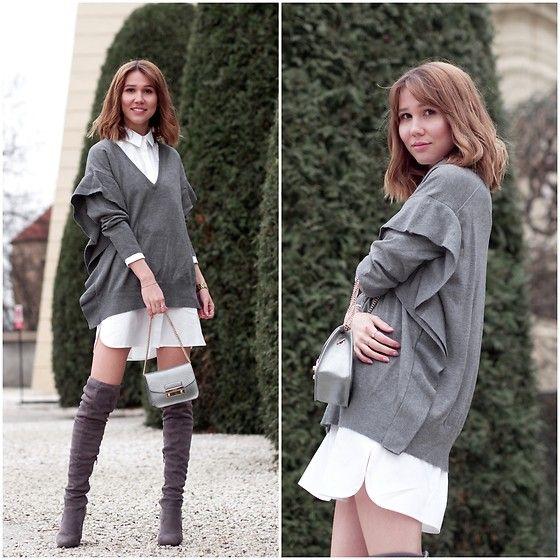 Get this look: http://lb.nu/look/8663887  More looks by Anastasiia G: http://lb.nu/anastasiiag  Items in this look:  Zara Ruffle Sweater, Asos Shirt Dress, Furla Mini Bag   #chic #elegant #romantic #ruffle #spring #overtheknee #otk #anastasiiag