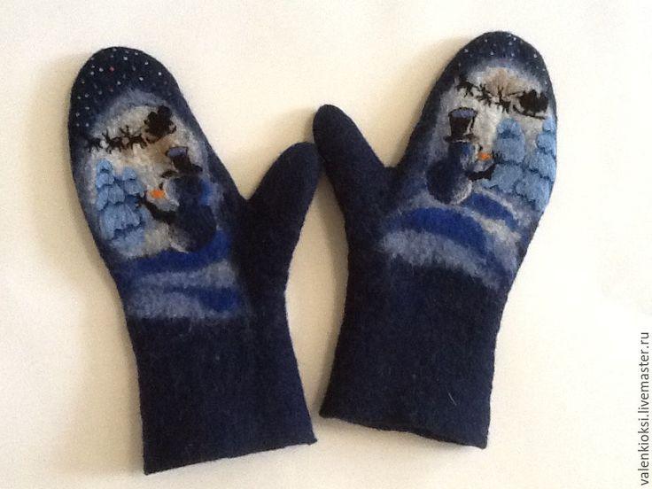 """Купить Варежки валяные """"Ночная смена"""" - тёмно-синий, рисунок, снеговик, дед мороз, варежки"""