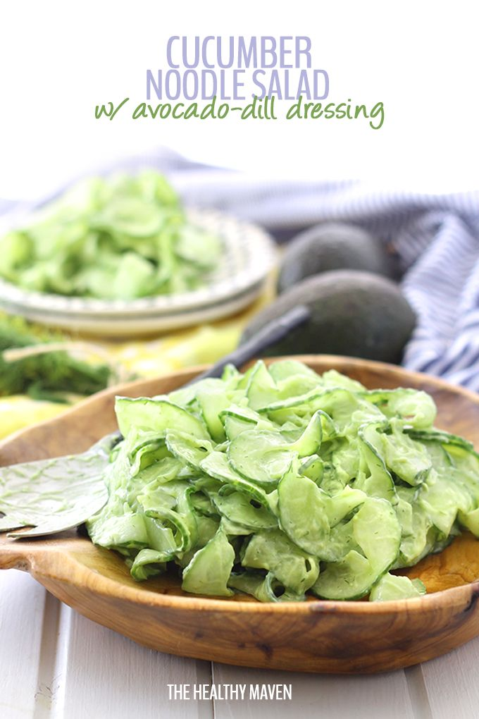 Get ready to detox winter with this Healthy Cucumber Noodle Salad with Avocado Dill Dressing. With spiralized cucumber and a creamy avocado-based dressing, you'll be begging for this salad side recipe all spring and summer long!