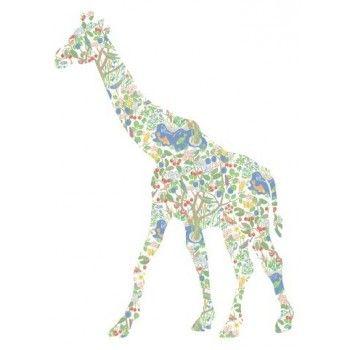 Girafe en papier peint vintage années 60 70 , idée déco murale chambre d'enfant , DIY ou boutique cf lien