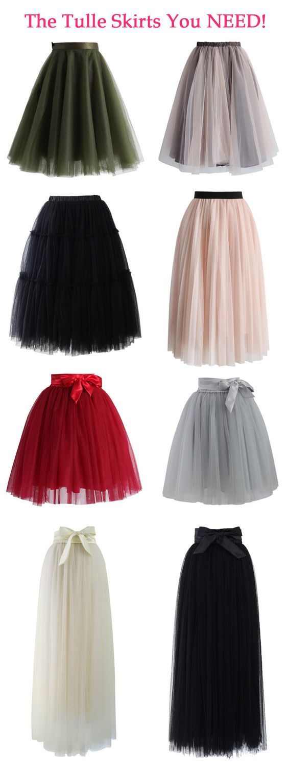 Every Girl Needs a Tulle Skirt! Our tulle skirt features a satin waistline, a flattering flit-and-flare cut and 5 layers of delicate, gracefully flowing mesh! TheChicFind.com