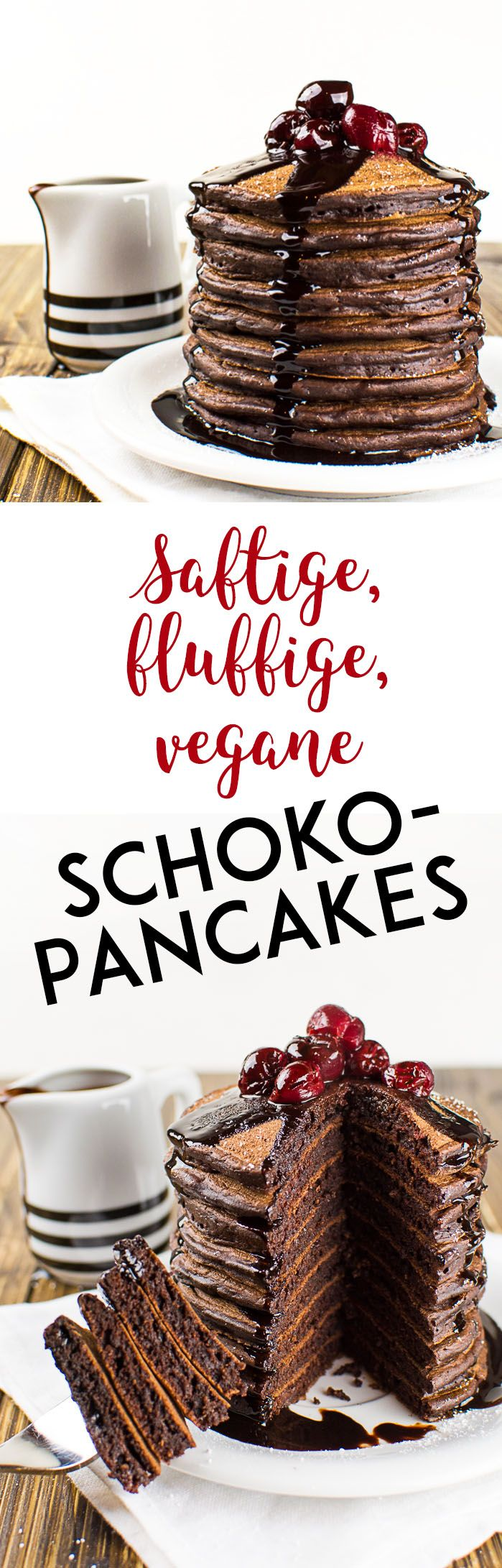 Schoko-Pancakes. Entdeckt von Vegalife Rocks:  www.vegaliferocks.de✨ I Fleischlos glücklich, fit & Gesund✨ I Follow me for more inspiration  @vegaliferocks