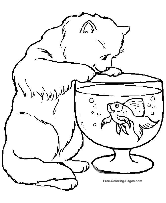 animal coloring pages cat and fish bowl