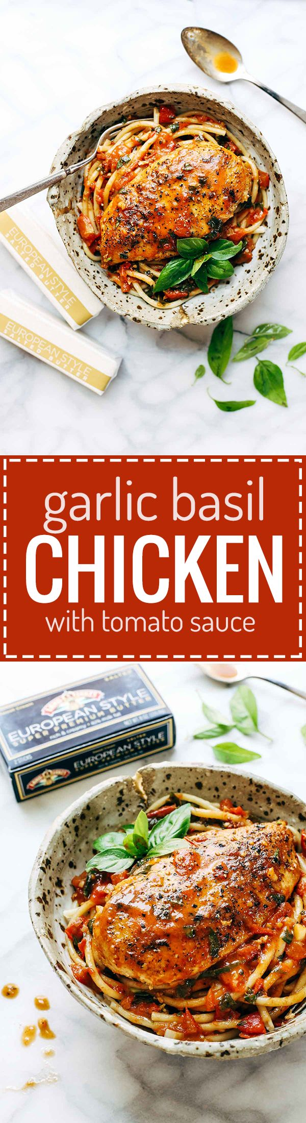 Garlic Basil Chicken with Tomato Butter Sauce - you won't believe that this real food recipe only requires 7 simple ingredients: chicken, pasta, garlic, olive oil, tomatoes, basil, butter. SO good! EuroStyleButter AD | pinchofyum.com.