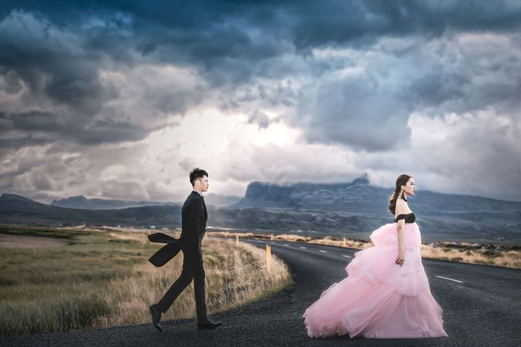 The appealing clouds created an overcast and shadow against the mountains and our bride and groom look beautiful just walking down any of these streets.