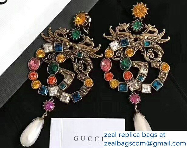 Gucci Multicolor Crystal And Pearl Double G Earrings â 15825 2018