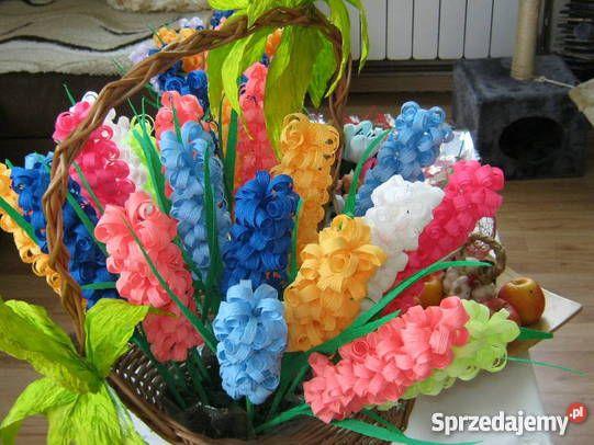 Kwiaty z bibuły krepy krepiny ozdoba domu Dekoracje i ozdoby
