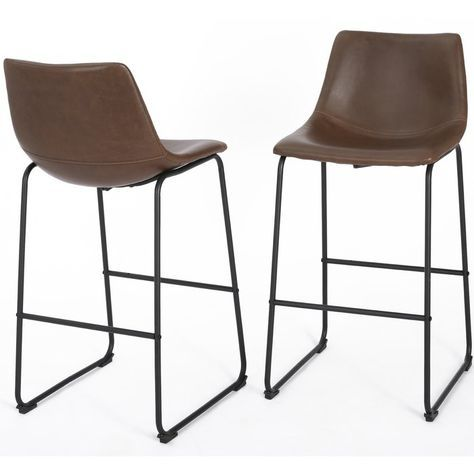Remy 26 Quot Bar Stool Set Of 2 Leather Counter Stools