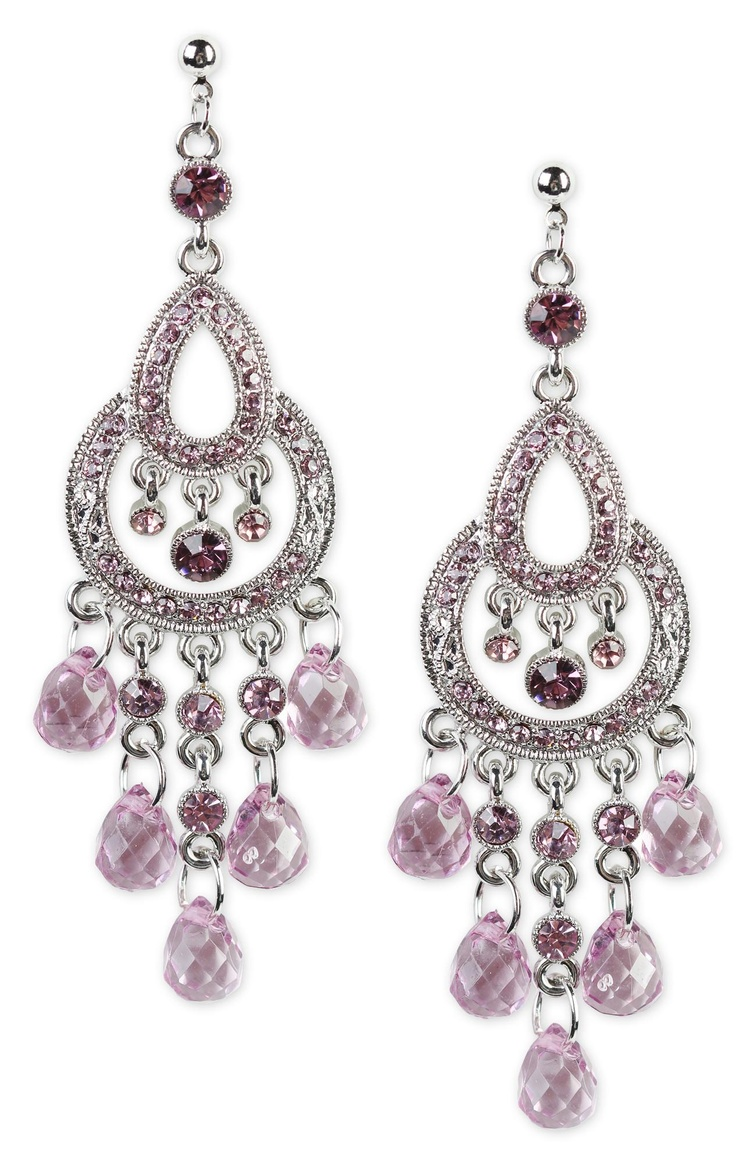 Deb Shops color stone dangling chandelier earrings -- if they'd make it with light blue jewels? I'd be in love. :)