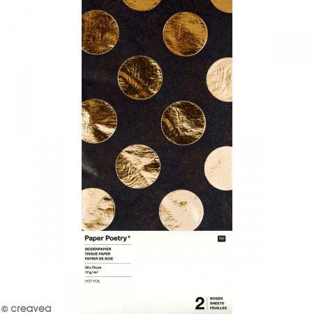 Papel de seda - Puntos dorados sobre fondo negro - 50 x 70 cm - 2 uds - Fotografía n°1