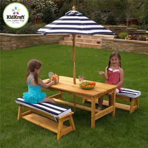KidKraft Outdoor table and Chair Set with Cushions and Navy Stripes Item# 5891 - Click image twice for more info - See a large selection of patio sets on http://www.zbestsellers.com/level.php?node=141&title=patio-sets - home, home decor, outdoor, outdoor living, outdoor furniture, outdoor ideas, patio ideas, patio, garden, backyard, gift