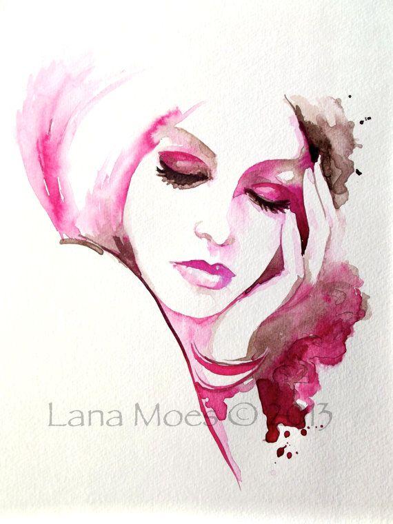 Pink Fashion Illustration Watercolor Original Painting by LanasArt