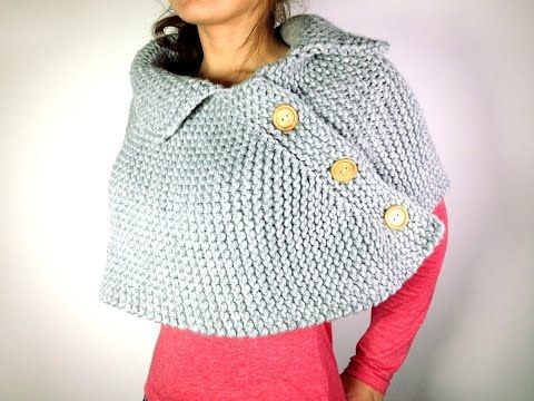Poncho con cuello hecho de dos cuadrados tejidos en dos agujas o palitos - YouTube