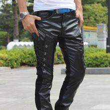2017 Nero Slim Faux Leather Skinny Jeans Per Gli Uomini Pantaloni Punk hip hop pantaloni uomo per il motociclo caldo mens adattano i pantaloni per uomini(China (Mainland))