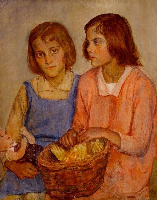 Two little girls with baskets   Kunffy Lajos   1938   Rippl - Rónai Megyei Hatókörű Városi Múzeum - Kaposvár   CC BY