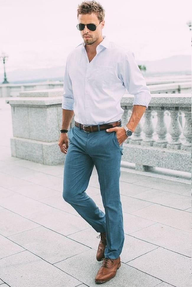 White Shirt With Teal Formal Trouser Combination For Business Casual Look Business Casual Men