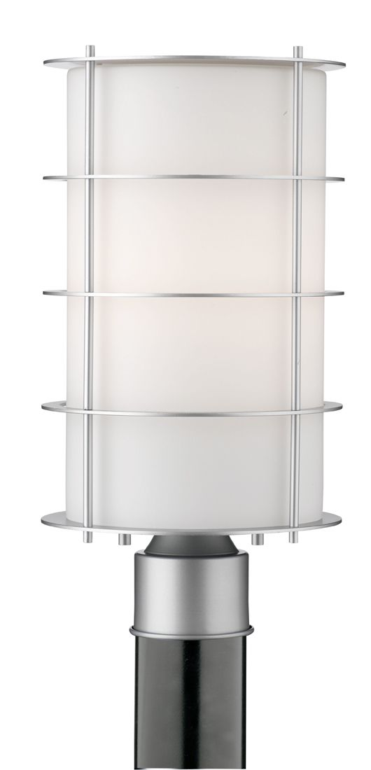 One Light Outdoor Post In Vista Silver Finish With Etched White Opal Gl From Forecast Lighting Contemporary Modern Pier Mounts