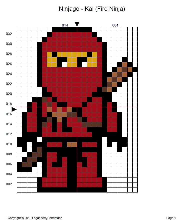 Ninjago Cross Stitch Pattern Free Kai Fire Ninja Red