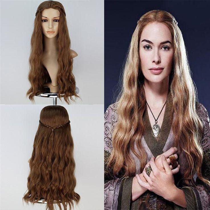 Morningsilkwig Women Hair Wig Cosplay Wig Game of Thrones Cersei Lannister Long Wavy Dark Gold Wig Queen Cersei Brown Wig costumes with hair net