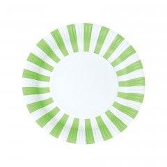 Χάρτινα πιάτα στρογγυλά ριγέ λαχανί Paper Eskimo - 12 τμχ.