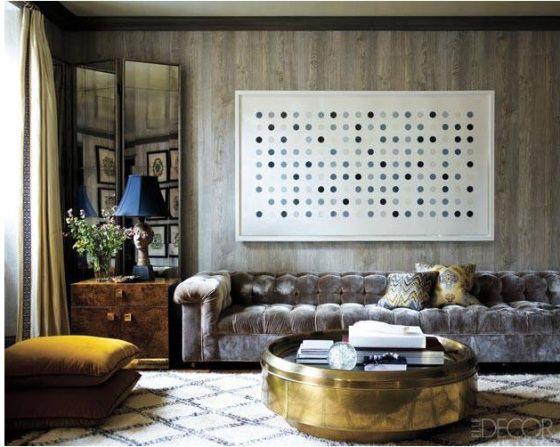 Living room, love the super long low tufted sofa via: trend1